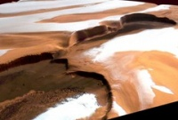 Зимой на Марсе падает снег